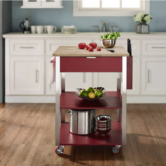 Crosley Furniture Culinary Prep Kitchen Cart Available In Red