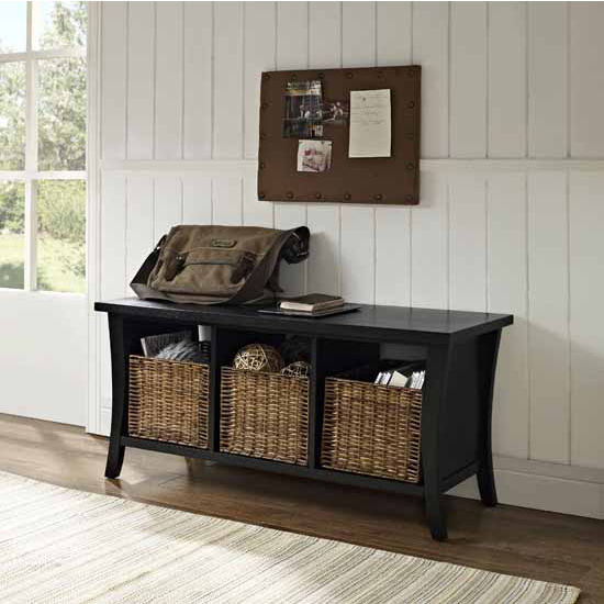 Wallis Entryway Storage Bench in Black