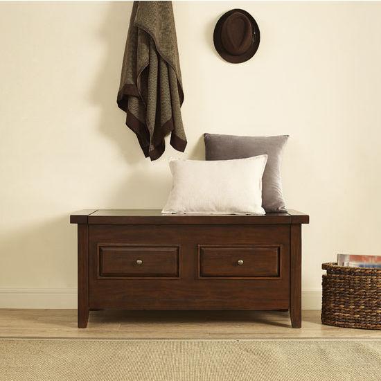 Crosley Furniture Sienna Storage Bench, Rustic Mahogany Finish