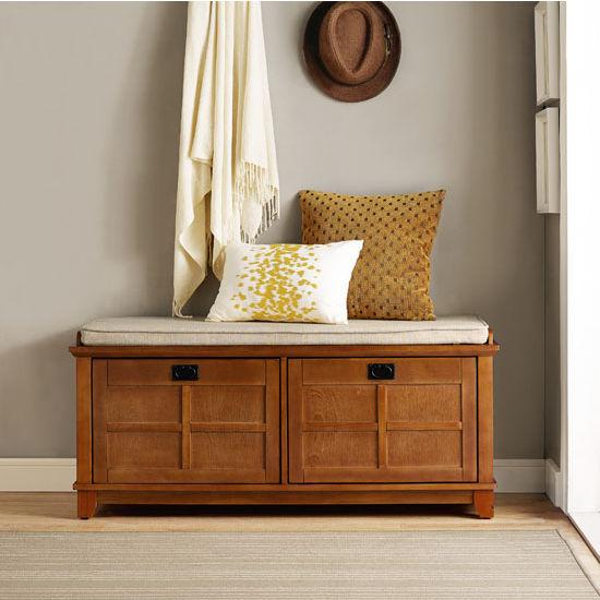 Crosley Furniture Adler Entryway Bench, Warm Oak Finish