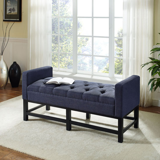 Claremont Upholstered Bench In Cr 232 Me Navy Or Shadow Gray