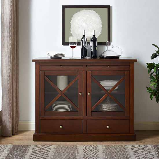 Crosley Furniture Jackson Collection Accent Cabinet in Mahogany, 42-3/25''W x 15-3/4''D x 32-3/4''H