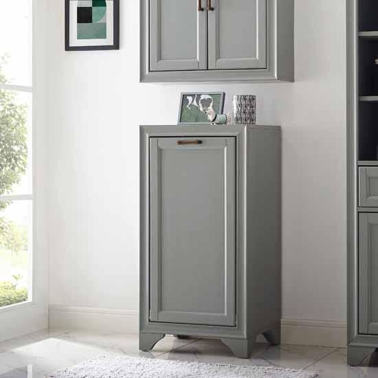 Crosley Furniture Tara Linen Hamper, Vintage Gray Finish, 18''W x 15''D x 35-1/4''H