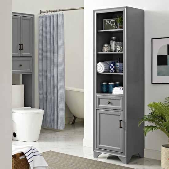 Crosley Furniture Tara Linen Cabinet, Vintage Gray Finish, 18''W x 15''D x 67-3/4''H
