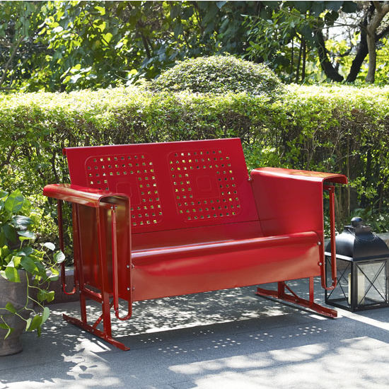 Crosley Furniture Bates Loveseat Glider, Red Finish