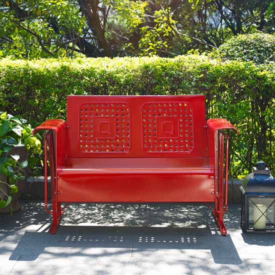 Crosley Furniture Bates Collection Outdoor Loveseat Glider In Red, 48 3/4u0027