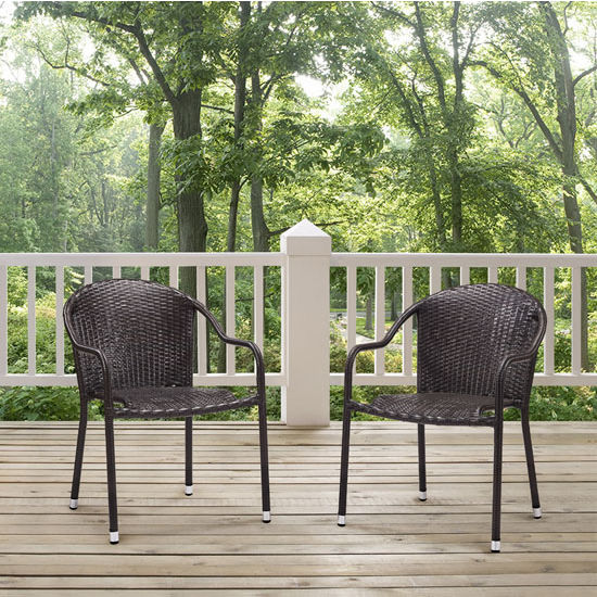 Crosley Furniture Palm Harbor Outdoor Wicker Stackable Chairs, Brown Finish