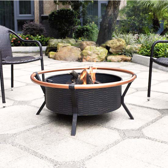 Yuma Copper Ring Firepit in Black