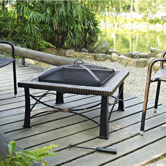 Firestone Square Slate Firepit in Black