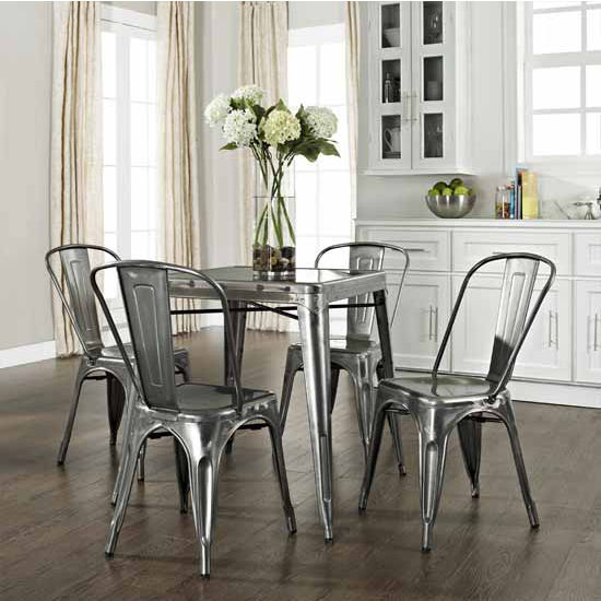 Crosley Furniture Amelia Five Piece Metal Caf� Dining Set - Table & Four Chairs