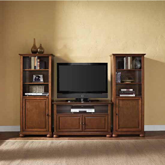 """Crosley Furniture Alexandria 42"""" TV Stand and Two 60"""" Audio Piers"""