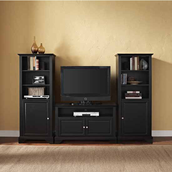 "Crosley Furniture LaFayette 42"" TV Stand and Two 60"" Audio Piers"