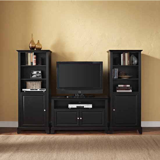 """Crosley Furniture Newport 42"""" TV Stand and Two 60"""" Audio Piers"""