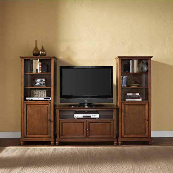 "Crosley Furniture Cambridge 42"" TV Stand and Two 60"" Audio Piers"