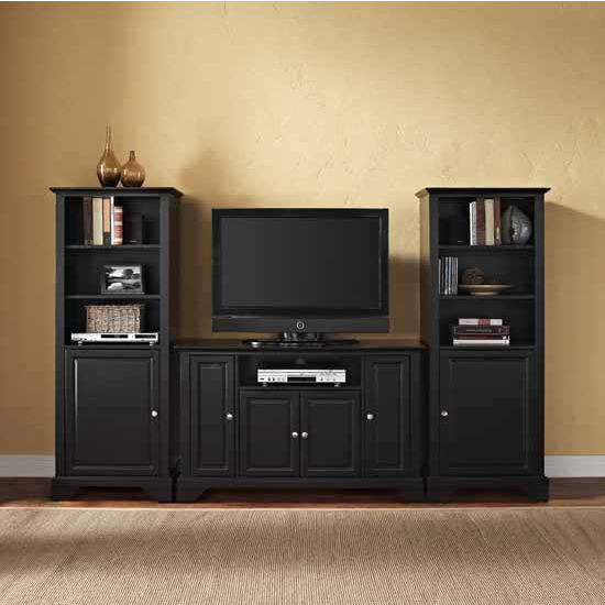 "Crosley Furniture LaFayette 48"" TV Stand and Two 60"" Audio Piers"