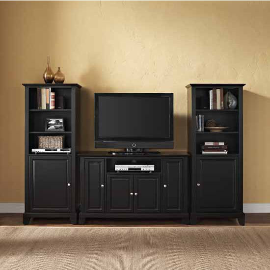 "Crosley Furniture Newport 48"" TV Stand and Two 60"" Audio Piers"