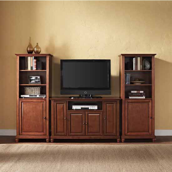 "Crosley Furniture Cambridge 48"" TV Stand and Two 60"" Audio Piers"