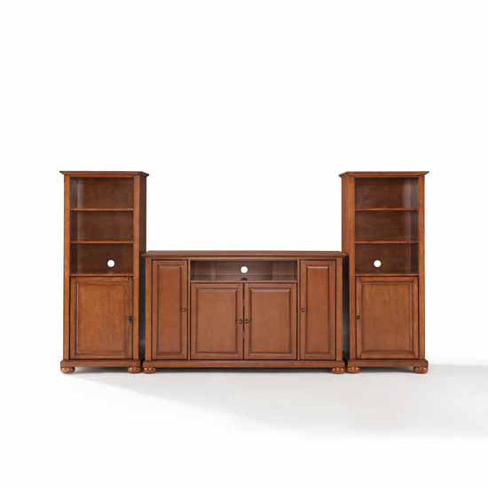 """Crosley Furniture Alexandria 60"""" TV Stand and Two 60"""" Audio Piers"""