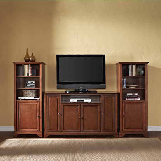 "Crosley Furniture LaFayette 60"" TV Stand and Two 60"" Audio Piers"