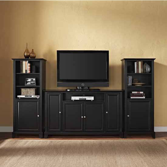 """Crosley Furniture Newport 60"""" TV Stand and Two 60"""" Audio Piers"""