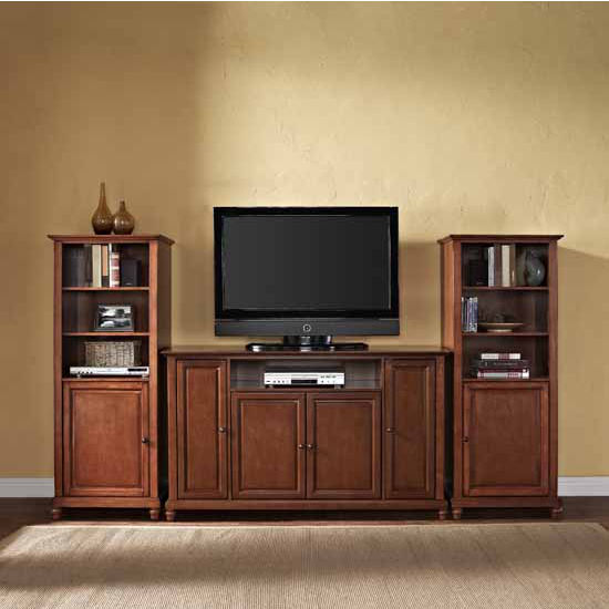 "Crosley Furniture Cambridge 60"" TV Stand and Two 60"" Audio Piers"