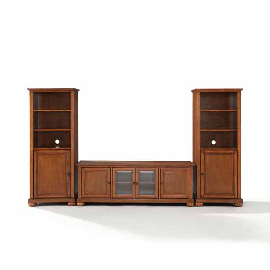 """Crosley Furniture Alexandria 60"""" Low Profile TV Stand and Two 60"""" Audio Piers"""