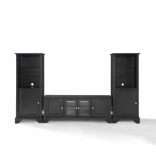 "Crosley Furniture LaFayette 60"" Low Profile TV Stand and Two 60"" Audio Piers"
