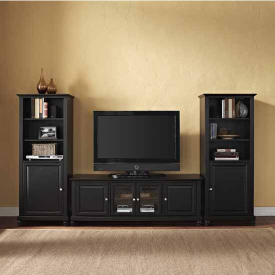 """Crosley Furniture Cambridge 60"""" Low Profile TV Stand and Two 60"""" Audio Piers"""