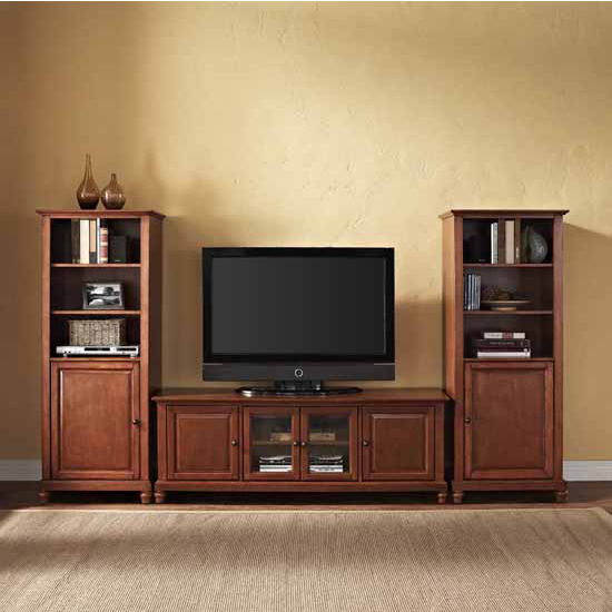 "Crosley Furniture Cambridge 60"" Low Profile TV Stand and Two 60"" Audio Piers"