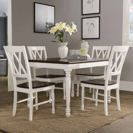 White Kitchen Tables And Chairs: Shelby Dining Set, With Dining Table And Chairs, In A