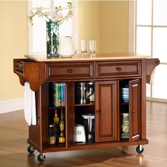 Crosley Furniture Alexandria Wood Top Kitchen Island In