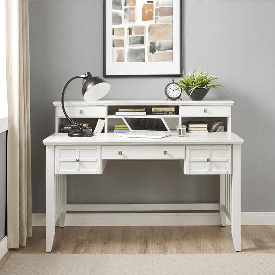 Crosley Furniture Adler Computer Desk with Hutch, White Finish