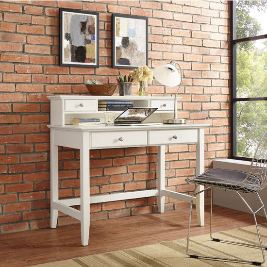 Crosley Furniture Campbell Writing Desk with Hutch, White Finish