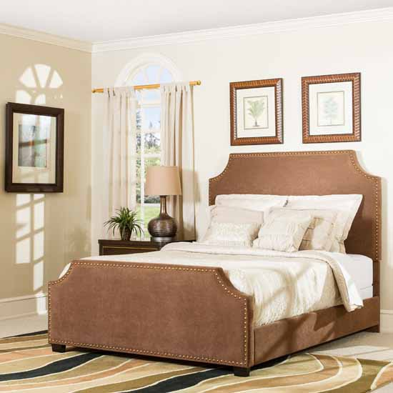 Crosley Furniture Brooks Bed Set, Cocoa Microfiber Finish