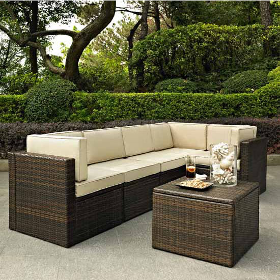 Crosley Furniture Palm Harbor Outdoor Wicker Corner Chair, Center Chair, Ottoman & Coffee Sectional Table