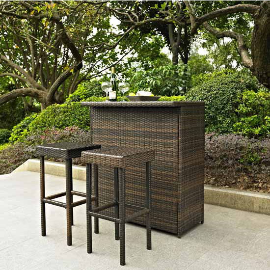 Crosley Furniture Palm Harbor 3 Piece Outdoor Wicker Bar Set - Table & Two Stools