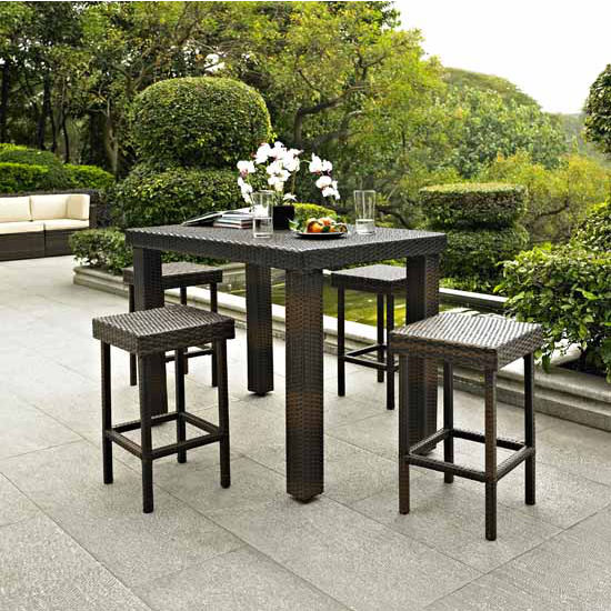 Crosley Furniture Palm Harbor 5 Piece Outdoor Wicker High Dining Set - Table & Four Stools