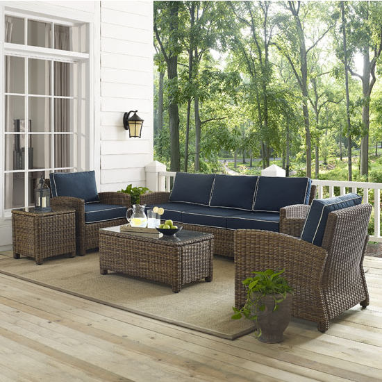 Crosley Furniture Bradenton 5-Piece Outdoor Wicker Sofa Conversation Set, with Navy Cushions with Sofa, Two Arm Chairs, Side Table & Glass Top Table