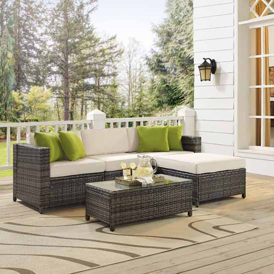 Crosley Furniture Sea Island 5 Piece Wicker Sectional Set, Gray Finish