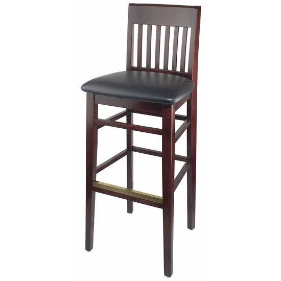 Henry Slat Back Wood Bar Stool with Black Vinyl Seat by Cambridge