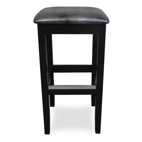 Bulldog Backless Wood Bar Stool With Black Vinyl Seat by Cambridge