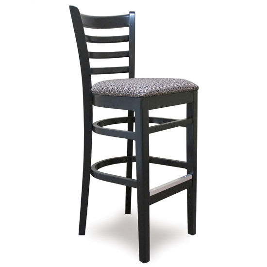 Carole Ladder Back Wood Bar Stool With Upholstered Seat by Cambridge