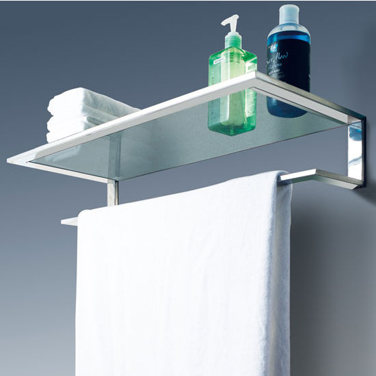 cool line platinum collection bathroom glass shelf with towel bar - Bathroom Glass Shelves