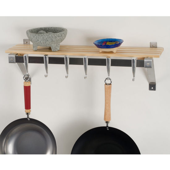 "Concept Housewares 30"" Wall Rack, Wood Natural /Stainless Steel"