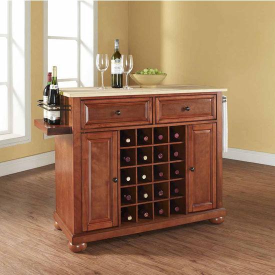 Crosley Furniture Alexandria Natural Wood Top Wine Island, Classic Cherry