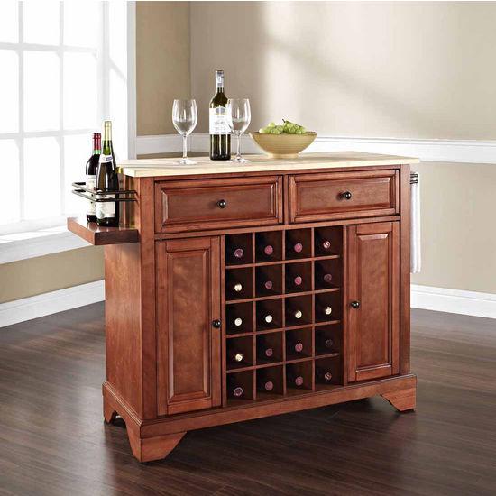 Crosley Furniture Lafayette Natural Wood Top Wine Island, Classic Cherry