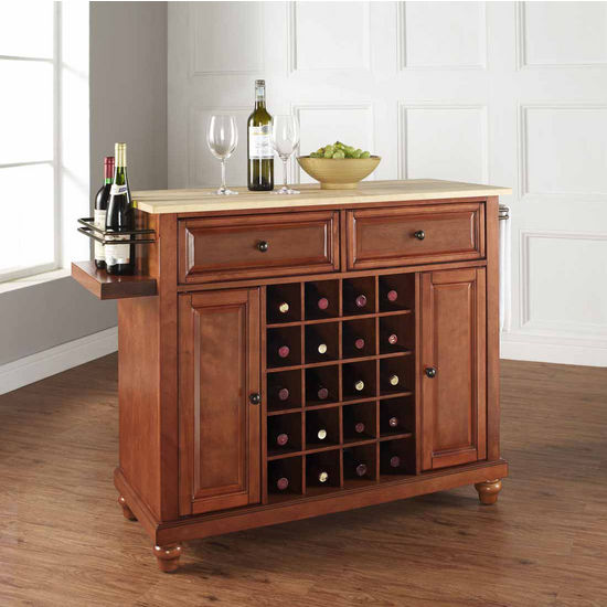 Crosley Furniture Cambridge Natural Wood Top Wine Island, Classic Cherry
