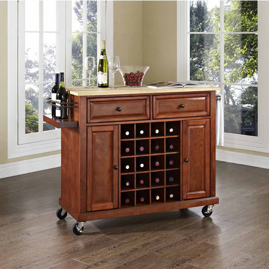 Crosley Furniture Natural Wood Top Wine Cart, Classic Cherry