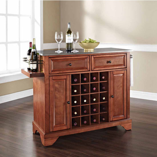 Crosley Furniture Lafayette Stainless Steel Wine Island, Classic Cherry