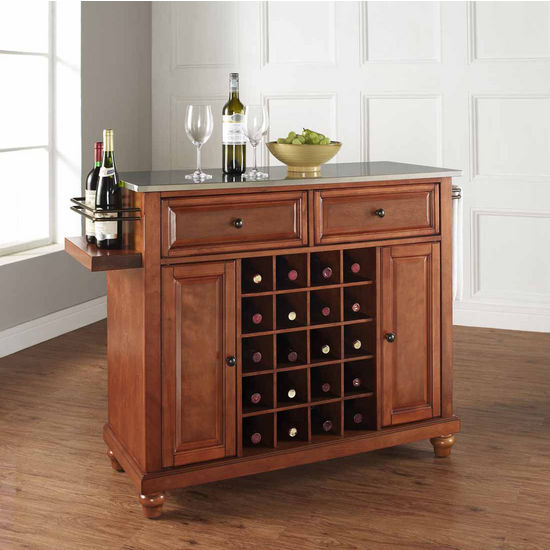 Crosley Furniture Cambridge Stainless Steel Wine Island, Classic Cherry